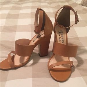 Chelsea Crew Black Label Tan Leather Heels